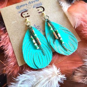 Native American beaded teardrop earrings